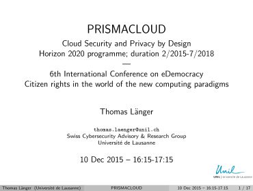 PRISMACLOUD at e-Democracy 2015 in Athens